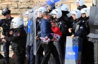 Turkish riot police at a Kurdish New Year celebration in Istanbul, 23 March