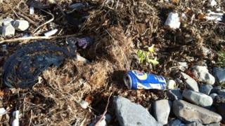 Rubbish on Llanfairfechan beach in Conwy during the litter survey