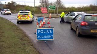 Police diverting traffic on A47