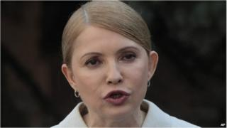 Former Ukrainian Prime Minister Yulia Tymoshenko at a press conference in Kiev on 27 March