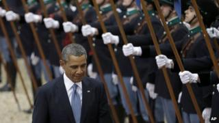 President Barack Obama reviews the honour guard in Rome, Italy, on 27 March 2014