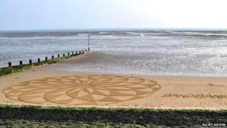 one of the sand art pieces on Southend End