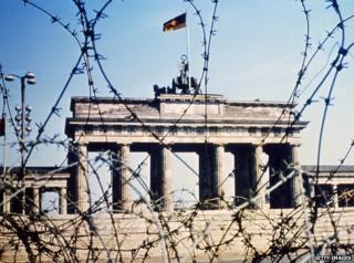 Brandenburg Gate through barbed wire