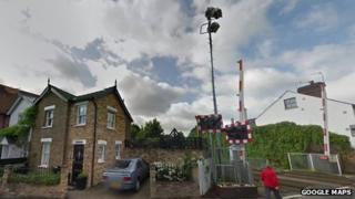 Old level crossing lighting tower in Datchet, Berkshire