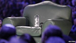 Bieber's Juno fan choice award on a chair at the awards