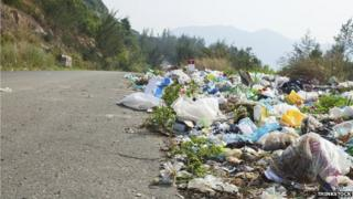 Fly-tipping at roadside