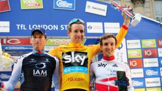 Bradley Wiggins on the winner's podium after stage 8 of of the 2013 Tour of Britain