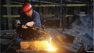 Worker in a steel factory in China