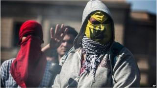 Supporters of Mohammed Morsi protesting at Cairo University