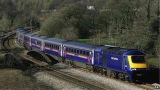 Train on main Great Western rail line