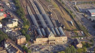 Aerial view of Norwich Railway Station