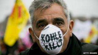 A protester against coal