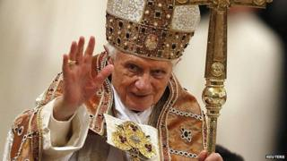 Pope Benedict XVI at end of Vespri mass at Basilica of Saint Paul Outside The Walls in Rome. January 2013