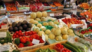 A stall in a French fruit and veg market