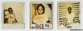 Polaroid photographs of separated children taken for Save the Children's tracing programme after the genocide in Rwanda
