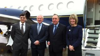 Allan Bell was met in Glasgow by Alex Salmond