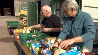 Volunteers sorting food donations out at the Bath food bank