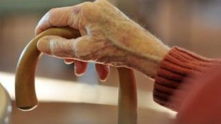 An elderly woman's hand on a stick