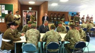 Prince Charles met soldiers from the Mercian Regiment during his visit to Palace Barracks