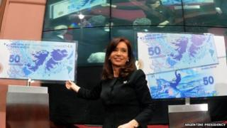 Cristina Fernandez during Falklands ceremony in Buenos Aires