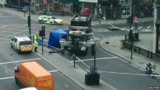 The scene of the crash at Ludgate Circus