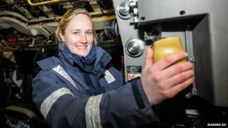 Janine Asseln inside her submarine