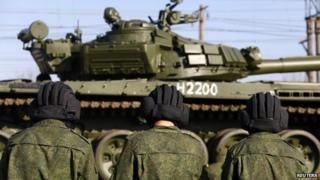 Russian tanks at train station near Crimean city of Simferopol. 31 March 2014