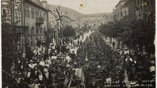 Arrival of the 18th Infantry Brigade in Llanidloes in 1914