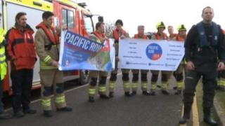 Darren Taylor and Oxford fire fighters