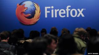 Mozilla's Firefox logo is projected on a screen at a technology conference in Barcelona, Spain, on 24 February, 2013.