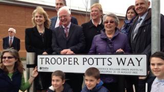 Unveiling of Trooper Potts Way sign