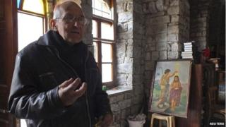 Father Frans van der Lugt inside a monastery where he kept items he had rescued from damaged churches in Homs - 2 February 2014