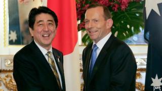 Japanese Prime Minister Shinzo Abe and Australia Prime Minister Tony Abbott