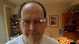 Rory Cellan Jones wearing Google Glass