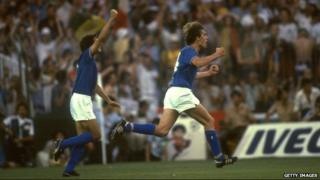 Marco Tardelli (right) celebrates World Cup final goal, 1982