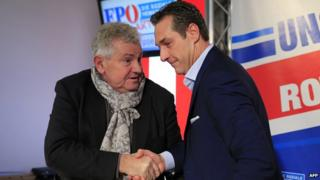 Andreas Moelzer (left) with FPOe leader Heinz-Christian Strache - file pic
