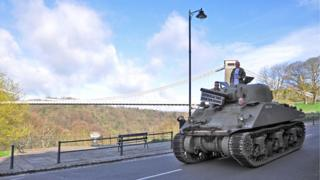 Tank with Clifton Suspension Bridge in the background