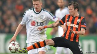 Bernard on the pitch in Donetsk kit