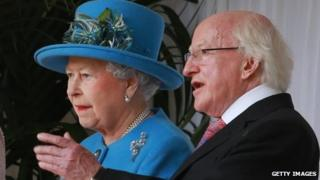 Irish President Michael D Higgins is received by The Queen at Windsor Castle on the first day of his state visit