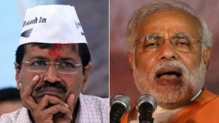 Arvind Kejriwal (left) and Narendra Modi are confident of winning the Varanasi seat