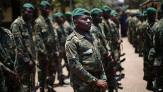 African peacekeeping mission troops known as MISCA, listen to US Ambassador to the UN Samantha Power in Bangui (9 April 2014)