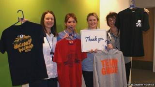 St Elizabeth Hospice team with Ed Sheeran clothing