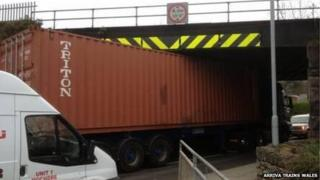 Lorry stuck under a bridge in Newtown, Powys