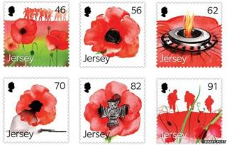 Jersey stamps featuring poppies