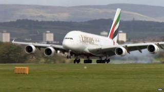 A380 lands at Glasgow Airport