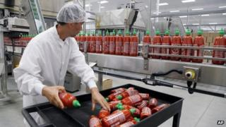 Sriracha chili sauce is produced at the Huy Fong Foods factory in Irwindale, California, on 29 October 2013