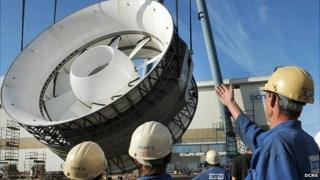 A tidal turbine being built in Cherbourg