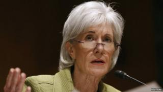 US Secretary of Health and Human Services Kathleen Sebelius answers a question before the Senate Finance Committee hearing on the President's budget proposal 10 April 2014