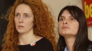 Rebekah Brooks and Sara Payne at the Conservative Party conference in October 2002