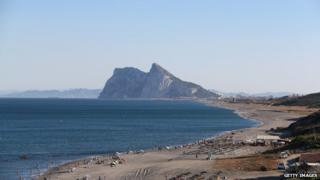 Gibraltar from a Spanish beach